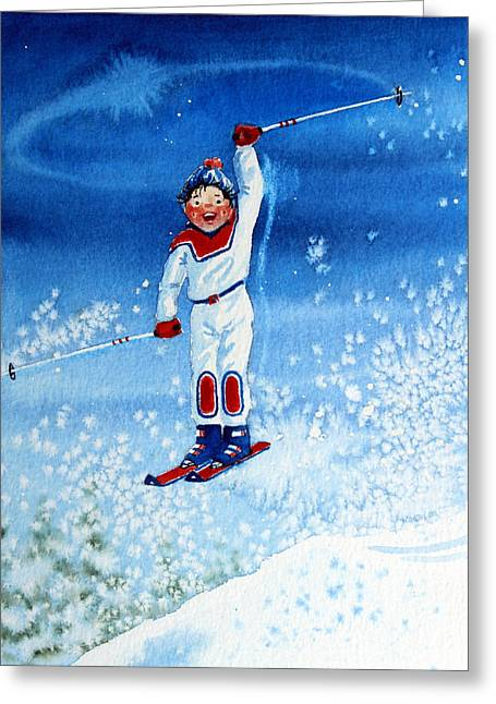 Ski Art Greeting Cards - The Aerial Skier 15 Greeting Card by Hanne Lore Koehler