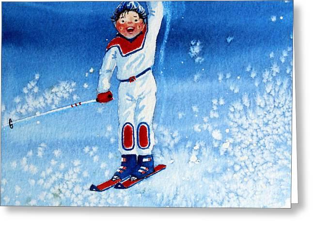 The Aerial Skier 15 Greeting Card by Hanne Lore Koehler