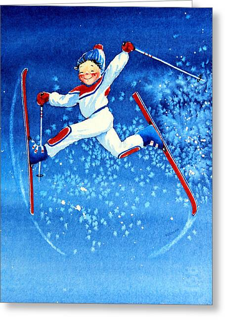 Ski Art Greeting Cards - The Aerial Skier 16 Greeting Card by Hanne Lore Koehler