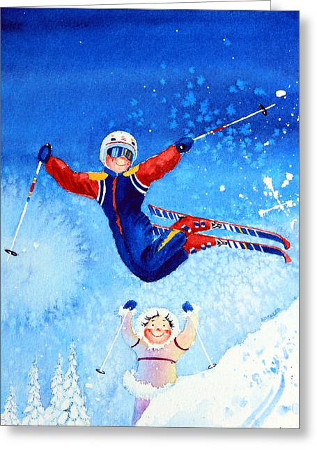 Ski Art Greeting Cards - The Aerial Skier 19 Greeting Card by Hanne Lore Koehler