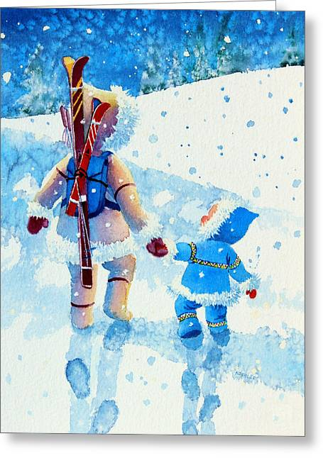 Ski Art Greeting Cards - The Aerial Skier - 2 Greeting Card by Hanne Lore Koehler