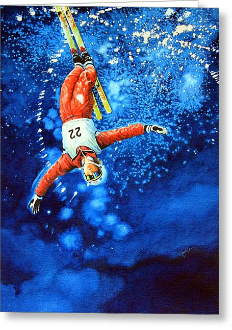 Winter Sports Art Prints Greeting Cards - The Aerial Skier 20 Greeting Card by Hanne Lore Koehler