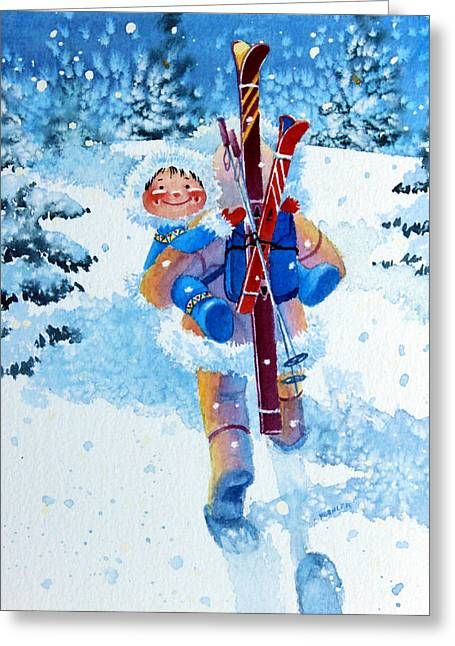 Ski Art Greeting Cards - The Aerial Skier - 3 Greeting Card by Hanne Lore Koehler