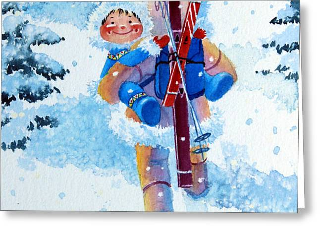 The Aerial Skier - 3 Greeting Card by Hanne Lore Koehler