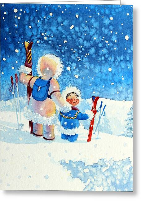 Ski Art Greeting Cards - The Aerial Skier - 4 Greeting Card by Hanne Lore Koehler