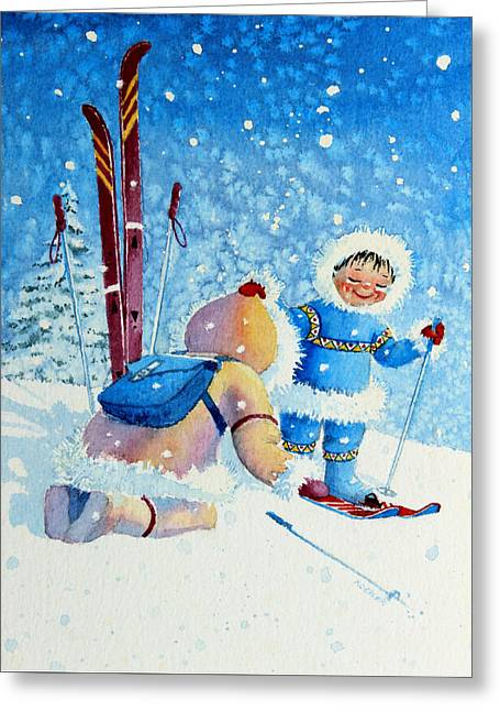 Ski Art Greeting Cards - The Aerial Skier - 5 Greeting Card by Hanne Lore Koehler