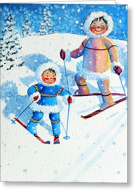 Ski Art Greeting Cards - The Aerial Skier - 6 Greeting Card by Hanne Lore Koehler