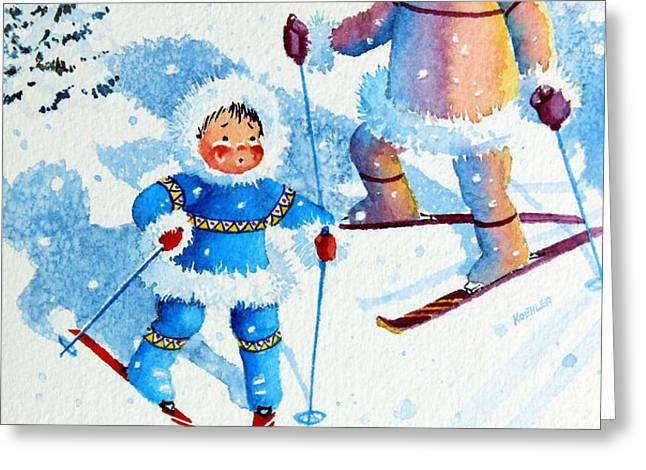 The Aerial Skier - 6 Greeting Card by Hanne Lore Koehler