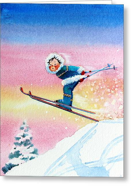 Ski Art Greeting Cards - The Aerial Skier - 7 Greeting Card by Hanne Lore Koehler