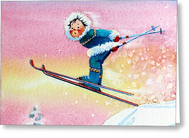 The Aerial Skier - 7 Greeting Card by Hanne Lore Koehler