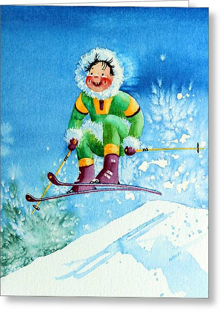 Ski Art Greeting Cards - The Aerial Skier - 9 Greeting Card by Hanne Lore Koehler