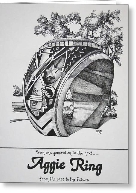 Universities Drawings Greeting Cards - The Aggie Ring Greeting Card by Barbara Gilroy