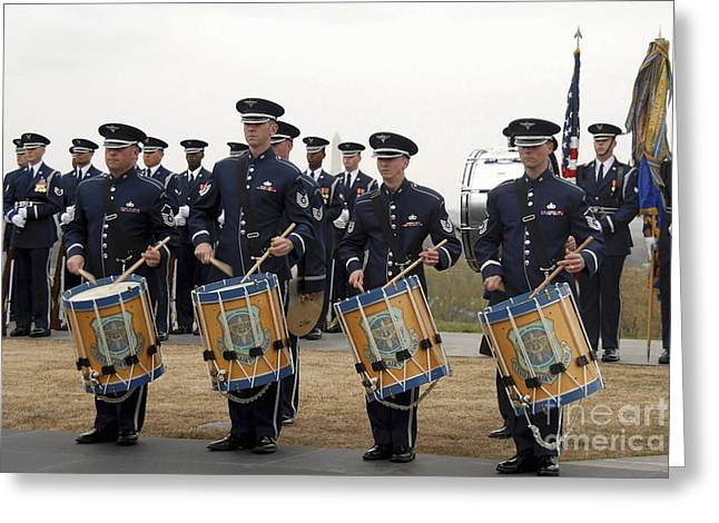 Playing Musical Instruments Greeting Cards - The Air Force Honor Band Greeting Card by Stocktrek Images