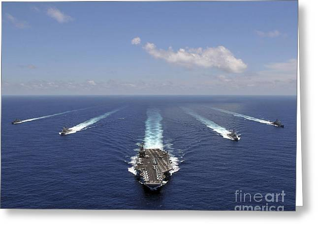 Convoy Greeting Cards - The Aircraft Carrier Uss Abraham Greeting Card by Stocktrek Images