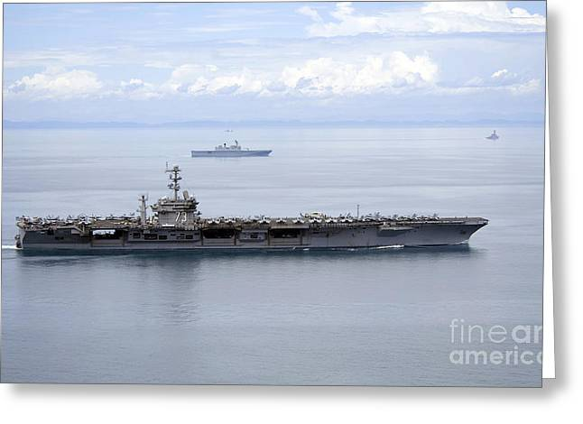 Two Spirit Greeting Cards - The Aircraft Carrier Uss George Greeting Card by Stocktrek Images