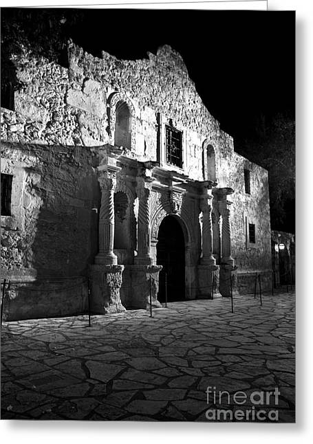 Riverwalk Greeting Cards - The Alamo at night Greeting Card by Jim Chamberlain