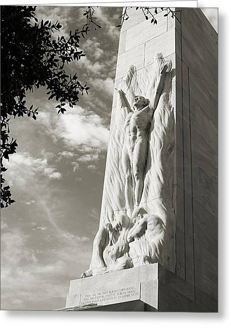 The Alamo Cenotaph In Black And White Greeting Card by Sarah Broadmeadow-Thomas