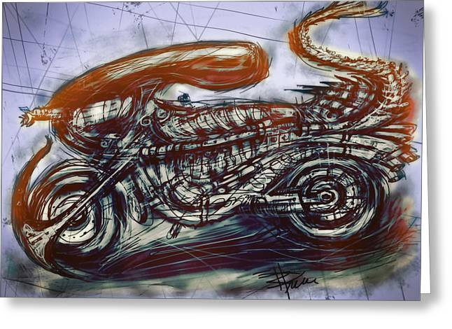 Recently Sold -  - Morph Greeting Cards - The Alien Bike Greeting Card by Russell Pierce