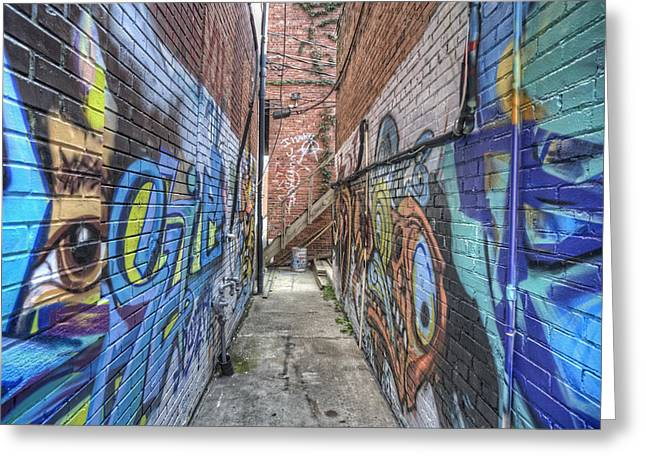 Alley Stairs Greeting Cards - The Alleyway Greeting Card by Jim Pearson