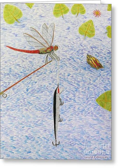 Fishing Rods Drawings Greeting Cards - The allure of the rod Greeting Card by Gerald Strine