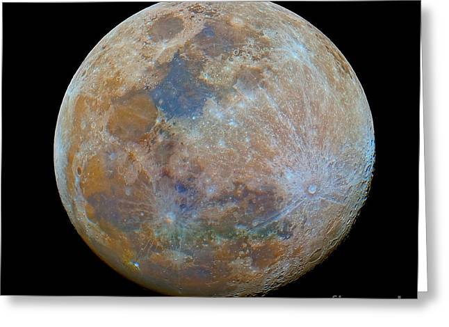 Mare Serenitatis Greeting Cards - The Almost Full Moon In Color Greeting Card by Luis Argerich