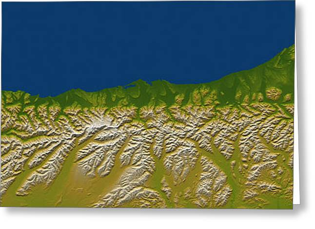 Relief Map Greeting Cards - The Alpine Fault Along The West Coast Greeting Card by Stocktrek Images