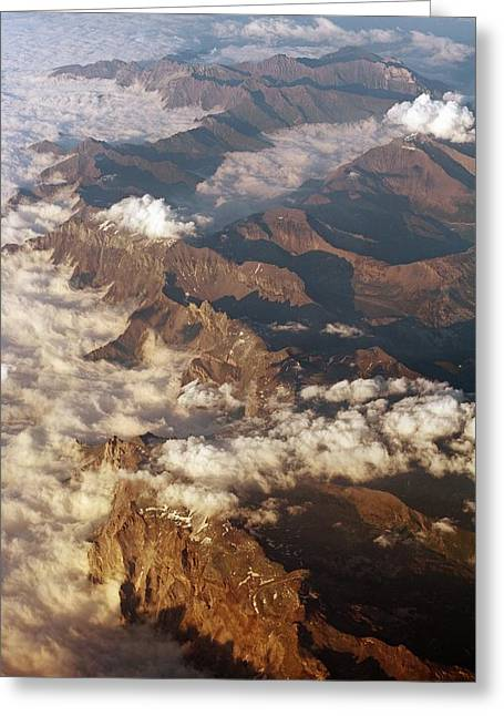 Bird Summit Greeting Cards - The Alps, Aerial Photograph Greeting Card by Carlos Dominguez