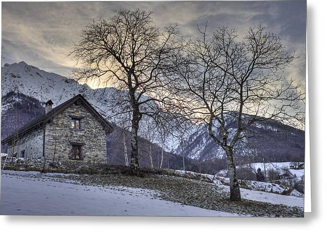 Stone House Photographs Greeting Cards - The Alps In Winter Greeting Card by Joana Kruse