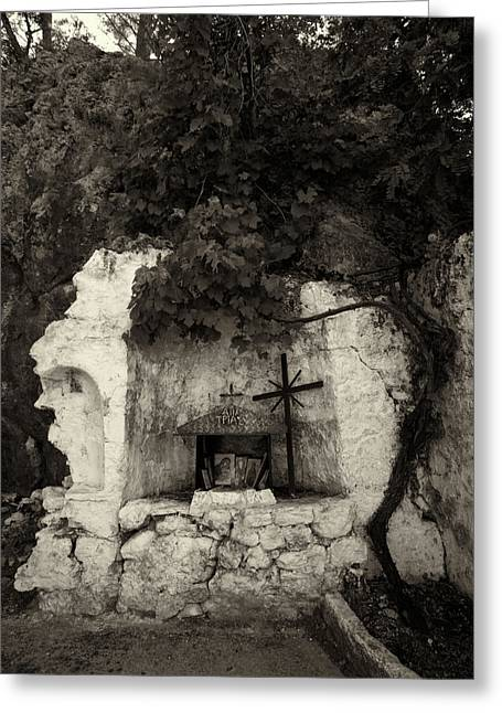 Panagia Greeting Cards - The Altar 2 bw Greeting Card by Jouko Lehto