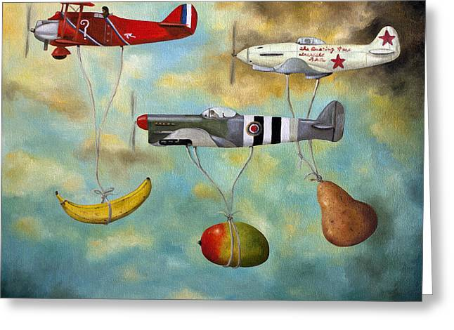 Airplane Greeting Cards - The Amazing Race 6 Greeting Card by Leah Saulnier The Painting Maniac