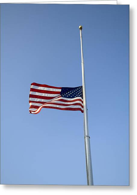 The American Flag At Half Staff  Due Greeting Card by Joel Sartore
