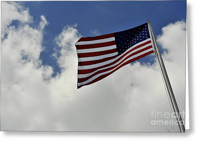 Stripes. Blowing Greeting Cards - The American Flag Blowing In The Breeze Greeting Card by Stocktrek Images