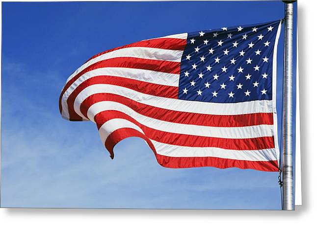 Breezy Greeting Cards - The American Flag Greeting Card by Craig Tuttle