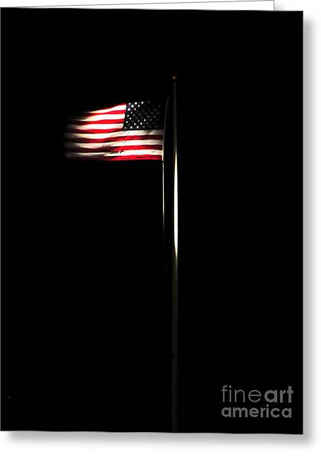 Stripes. Blowing Greeting Cards - The American Flag Flies Over Naval Greeting Card by Stocktrek Images