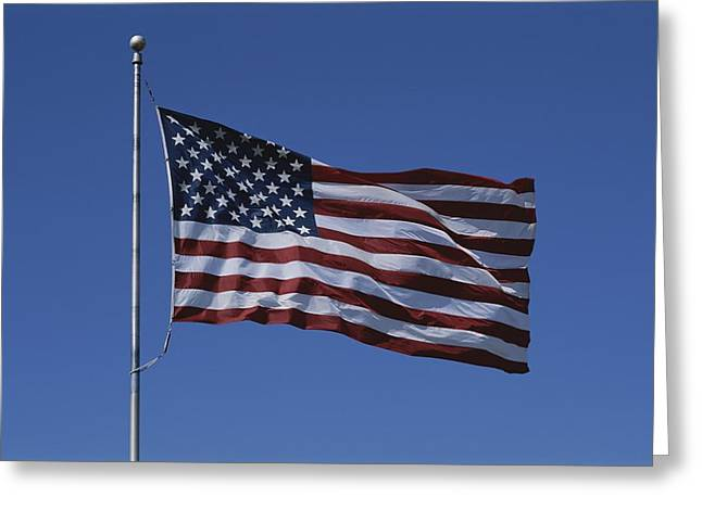 American National Flag Greeting Cards - The American Flag Flies Proudly Greeting Card by Stephen St. John