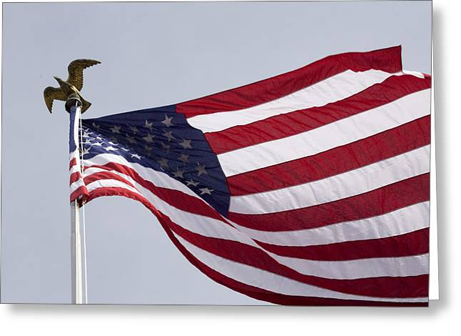 Liberation Greeting Cards - The American Flag Greeting Card by Tim Laman