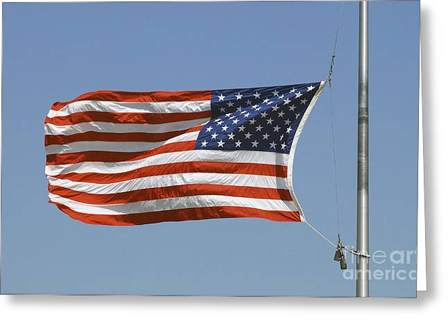 Stripes. Blowing Greeting Cards - The American Flag Waves At Half-mast Greeting Card by Stocktrek Images