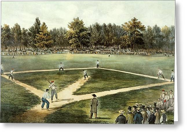 Fields Greeting Cards - The American National Game of Baseball Grand Match at Elysian Fields Greeting Card by Currier and Ives