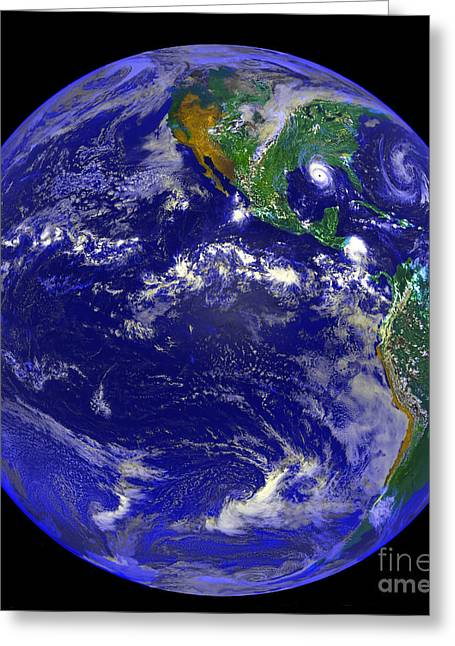 Terrestrial Sphere Greeting Cards - The Americas And Hurricane Andrew Greeting Card by Stocktrek Images