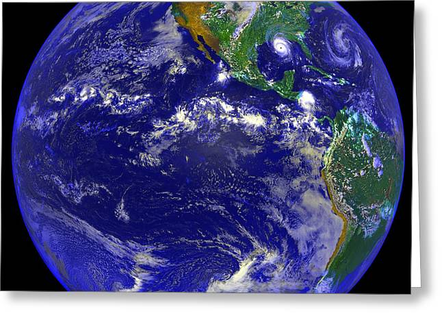 The Americas And Hurricane Andrew Greeting Card by Stocktrek Images
