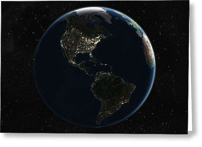 Inhabited Environment Greeting Cards - The Americas At Night, Satellite Image Greeting Card by Planetobserver
