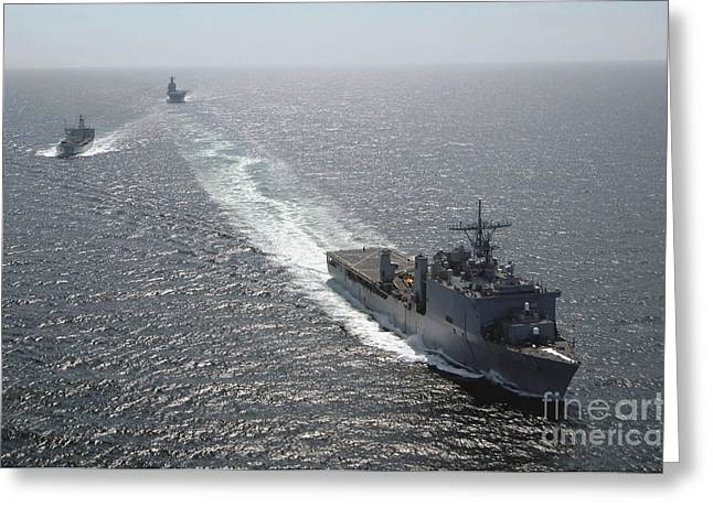 Boats At Dock Greeting Cards - The Amphibious Dock Landing Ship Uss Greeting Card by Stocktrek Images