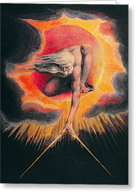 Kneel Greeting Cards - The Ancient of Days Greeting Card by William Blake