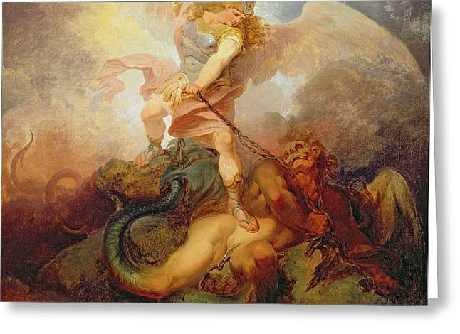 The Angel Binding Satan Greeting Card by Philip James de Loutherbourg