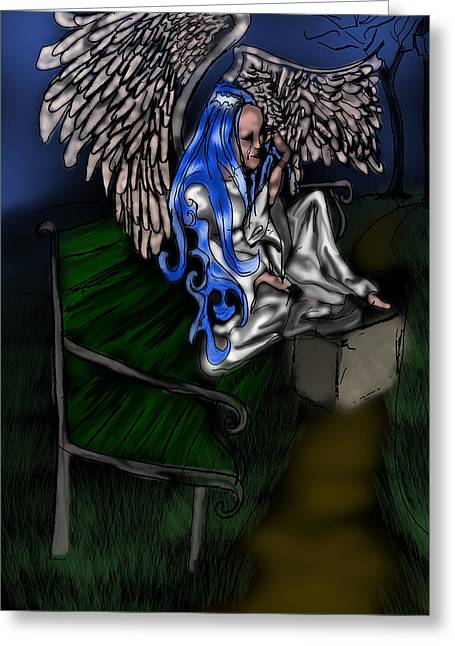 Tears Greeting Cards - The Angel Dries Her Tears on A Park Bench Greeting Card by Cindy Boyd