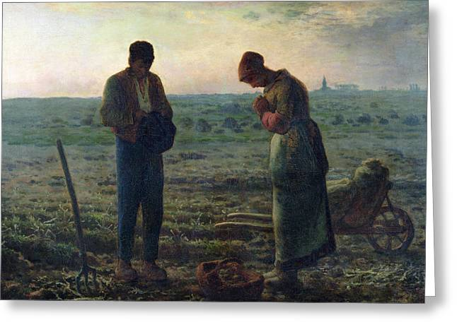 Crops Paintings Greeting Cards - The Angelus Greeting Card by Jean-Francois Millet
