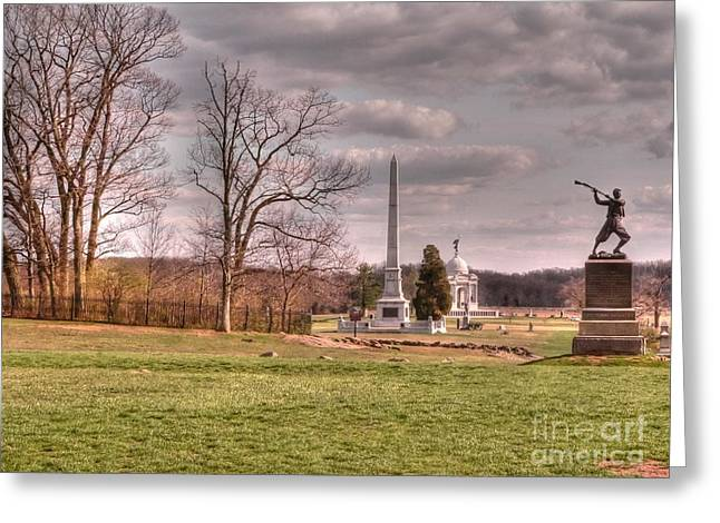 Cemetery Ridge Greeting Cards - The Angle at Cemetery Hill Greeting Card by David Bearden