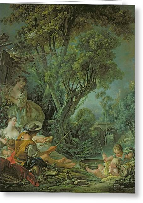 Francois Boucher Greeting Cards - The Angler Greeting Card by Francois Boucher
