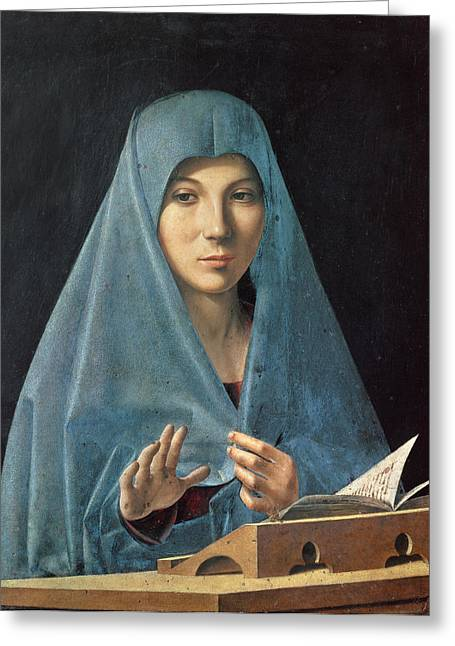 Virgin Mary Greeting Cards - The Annunciation Greeting Card by Antonello da Messina