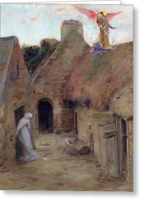 Thatched Greeting Cards - The Annunciation Greeting Card by Luc Oliver Merson